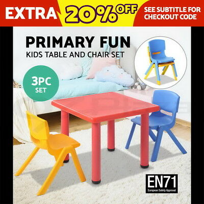 Keezi Kids Table and Chair Set Children Study Desk Furniture Plastic Red 3PC