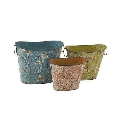 Multicolored Pastel Metal Planter (Set of 3)