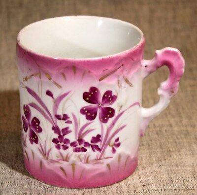 "German ""Pink & White & HP Flowers w/Gold"" Porcelain Mug 1900-1920 Free Ship"