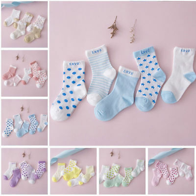 5pairs Newborn Infant Toddler Kids Baby Boy Girl Cotton Cartoon Socks Soft Sock