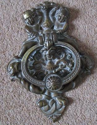 large antique ? victorian bronze ? brass vintage door knocker cherubs faces ...