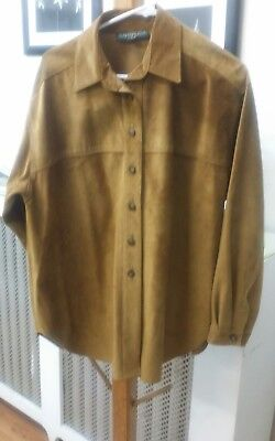 BUSHWACKER vintage suede tan shirt LARGE MADE IN USA ! SOFT AS BUTTER leather