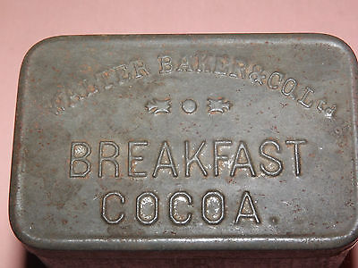 Vintage Walter Baker & Co Ltd Breakfast Cocoa Embossed Metal Tin