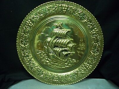 "Vintage Copper Wall Hanging Plate 16 1/2"" Round with Ship Scene"