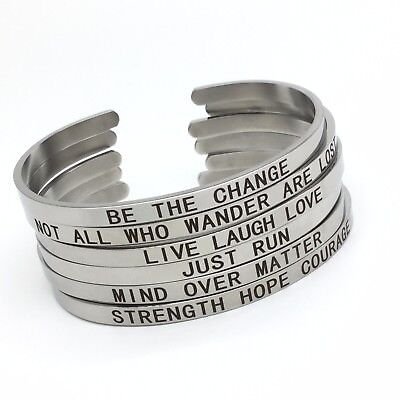 Engraved Inspirational Letter Word Ins Bracelet Stainless Steel Cuff Open Bangle