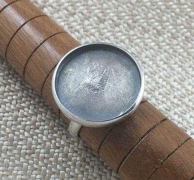 Sterling Silver Ring Blank 20mm Round Bezel Cabochon Setting Adjustable Finding