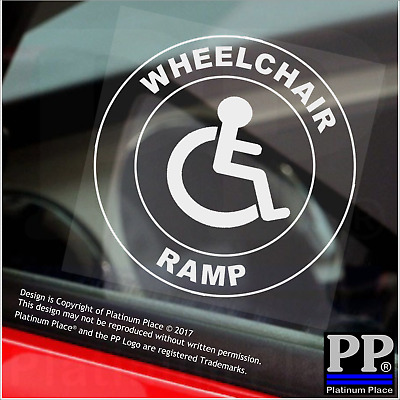 1x Wheelchair Ramp-Round-Window Sticker-Sign,Car,Badge,Disabled,Warning,Notice