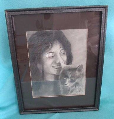 1992 Pencil Drawing of Girl with Cat - Matted in Frame