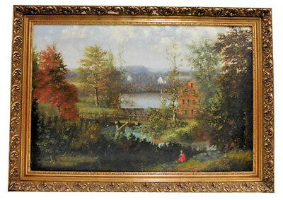 Late American 19Th/early 20Th C. Oil On Canvas Fall Pastoral Landscape Scene