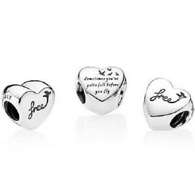 Authentic Pandora silver 925 # 791967 Heart of Freedom slide charm NWOT