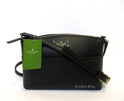 Kate Spade Millie Grove Street Leather Crossbody Bag BLACK Shoulder Handbag NWT