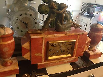 Beautiful Art Deco Marble Clock with Garnitures & Spelter Lady & Child