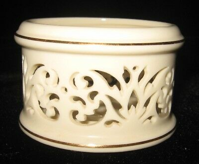 "LENOX ""PIERCED CHINA VOTIVE"" 2"" x 2 & 1/2"" Gold trimmed Ivory Candle Holder NEW"
