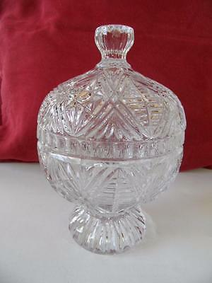 Vintage Lidded Crystal Glass Fancy Dressing Table Jewellery Box Lolly Jar