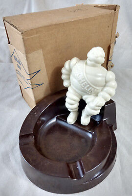 Michelin Man Bakelite Ashtray Figure IN BOX Vtg Antique Advertising 9360 Walnut