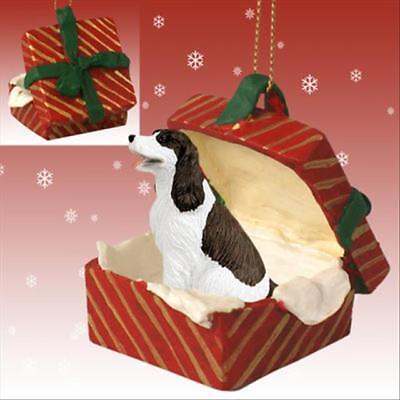 Springer Spaniel Liver Dog RED Gift Box Holiday Christmas ORNAMENT