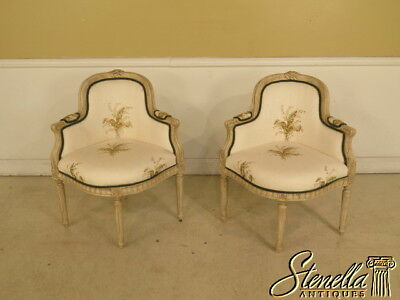 40093E: Pair Of French Louis XVI Style Paint Decorated Corner Chairs