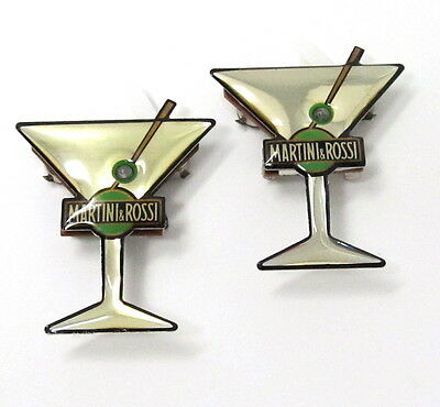New Martini & Rossi Martini Glass Figural Pin Lights Up Set of 2 Pins Lot