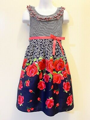 a82cac746f6 Bonnie Jean Girls Navy Floral Stripe Spring Summer Party Vacation Dress 4 5  6