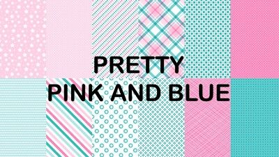 PRETTY PINK & BLUE SCRAPBOOKING PAPER - 12 x A4 pages