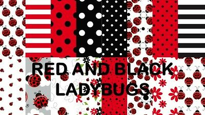 RED & BLACK LADYBUGS SCRAPBOOKING PAPER - 16 x A4 pages