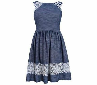 Bonnie Jean Knit to Tiered Chambray and Eyelet Drop Waist Dress