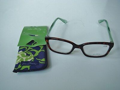NEW VERA BRADLEY Readers +1.50 with Case Katalina Blues Meryl Tortious Shell