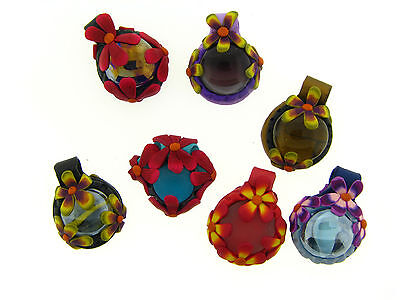 US Artisan Assorted Style & Color Floral Glass Cabochon Pendant Polymer Clay Lot