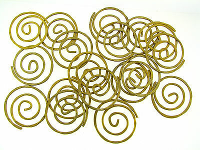 Vintage Unique Raw Brass Large Textured Spiral Loop Jewelry Findings Lot