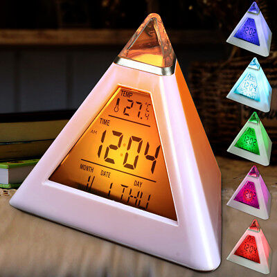 7 LED LCD Color Changing Digital Pyramid Alarm Clock Desk Thermometer Light Bed