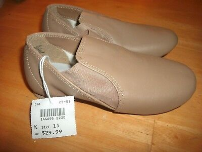 .brand New Girls Tan Abt American Ballet Theater Jazz Leather Shoes Size 11
