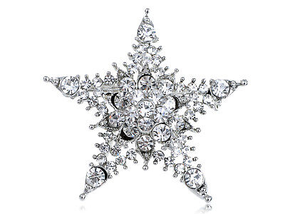 Silver Tone Clear Crystal Colored Rhinestones Twinkle Bling Star Brooch Pin