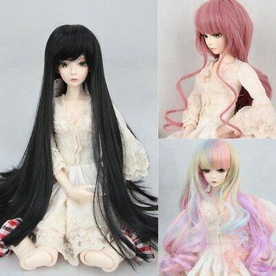 8-9'' 22-24cm 1/3 BJD Doll Wig SD Curly Long Straight Hair Black Toy Costume Wig