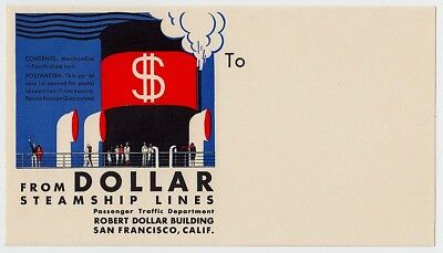 Shipping Company DOLLAR STEAMSHIP LINES * Old Luggage Label Kofferaufkleber