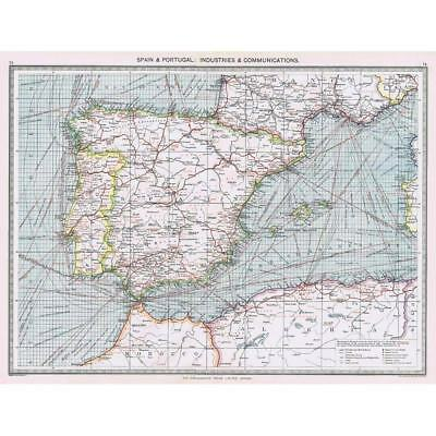 Antique Map 1906 - Spain/Portugal Industrial & Communications - Harmsworth Atlas