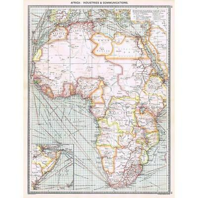 Antique Map 1906 - Africa Industrial and Communications - Harmsworth Atlas