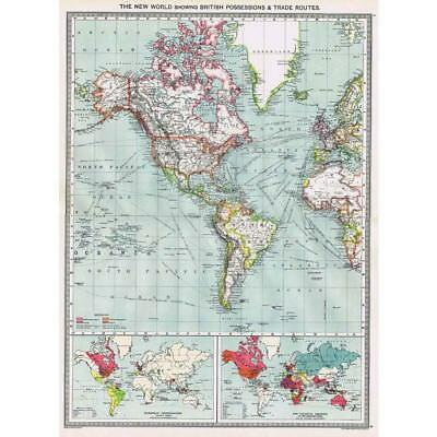 Antique Map 1906 - The New World Showing British Possessions - Harmsworth Atlas