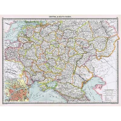 Antique Map 1906 - Central & South Russia - Harmsworth Atlas