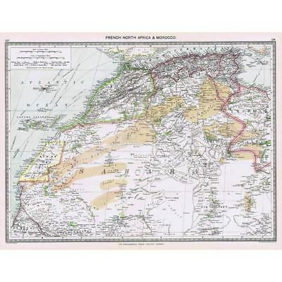 Antique Map 1906 - French North Africa and Morocco - Harmsworth Atlas