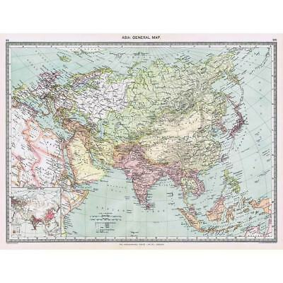 Antique Map 1906 - Asia (General Map) - Harmsworth Atlas