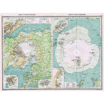 Antique Map 1906 - North and South Polar Regions - Harmsworth Atlas