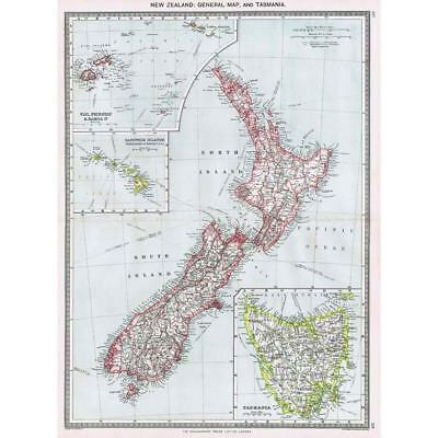 Antique Map 1906 - New Zealand and Tasmania - Harmsworth Atlas
