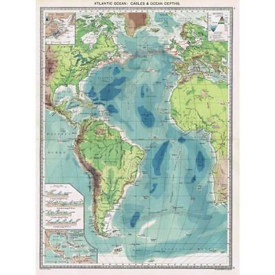 Antique Map 1906 - Atlantic Ocean Cables and Ocean Depths - Harmsworth Atlas