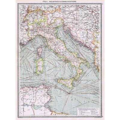 Antique Map 1906 - Italy Industrial & Communications Map - Harmsworth Atlas