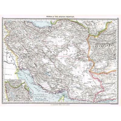 Antique Map 1906 - Persia & the Afghan Frontier - Harmsworth Atlas