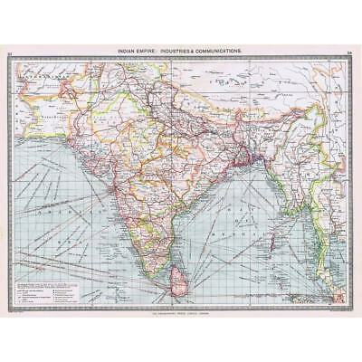 Antique Map 1906 - Indian Empire Industrial & Communications - Harmsworth Atlas