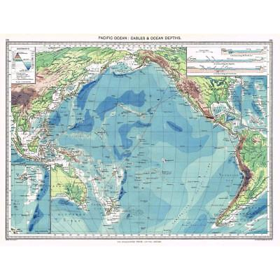 Antique Map 1906 - Pacific Ocean Cables & Ocean Depths - Harmsworth Atlas
