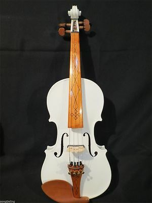 Pretty white color best model 4/4 electric violin +Acoustic violin #8172