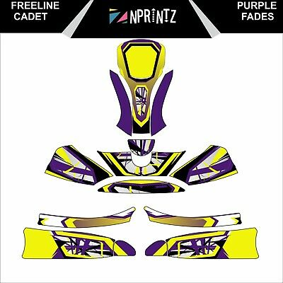 Freeline Cadet Purple Fades Style Full Kart Sticker Kit Karting  -Cadet-Rookie
