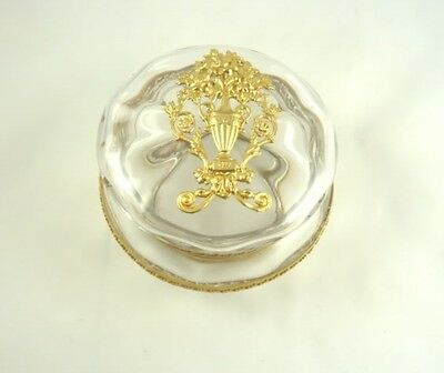 Antique French Crystal Dresser Box Dore Bronze  Large With Lid Empire Style